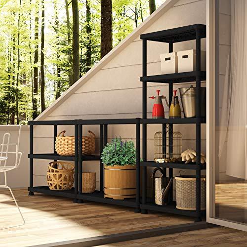 Terry, Scaffale 3060 S-5, Estantería Modular con 5 Estantes, Color: Negro, Material: Plástico, Dimensiones: 60x30x165 cm