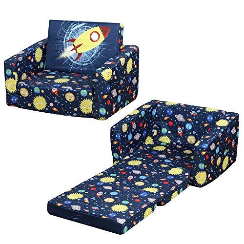 HOMCOM Sillón Infantil 2 Modos de Uso Extensible Ergonómico Funda Lavable Mini Sofá para Niños +12 Meses Asiento Acolchado Esponja 56x42x39 cm Azul