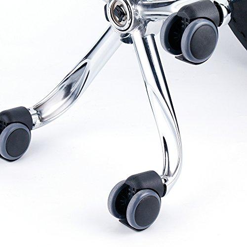 Leader Accessories Taburete de Bar Taburete de Cocina Silla de Trabajo Acolchado con Ruedas Tapizado en Cuero de Imitación Altura Ajustable (Negro)