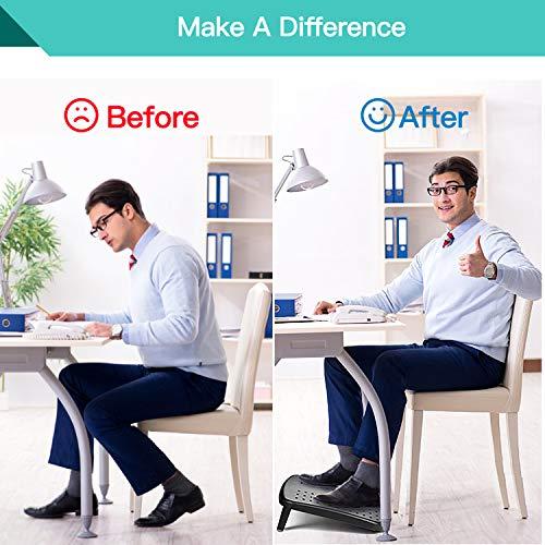 HUANUO Reposapiés ergonómico para debajo del escritorio, 2 reposapiés de altura ajustable con superficie texturizada, conveniente para viajar, la oficina, y el hogar