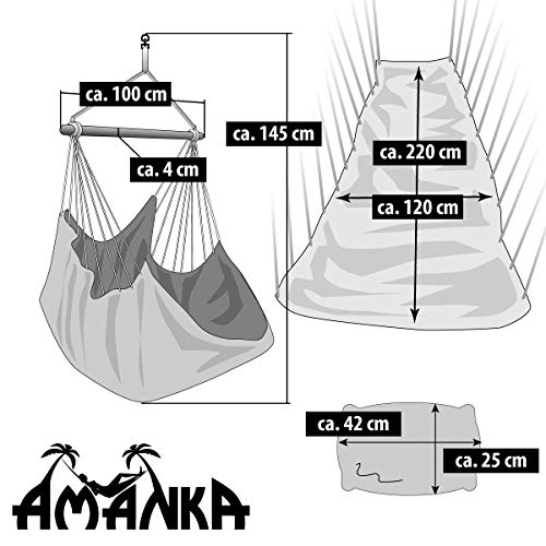 AMANKA - Silla Colgante XXL con Compartimento Lateral y Cojín - 220x120cm Hamaca hasta 150kg