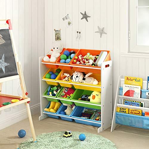 SONGMICS Estantería para Juguetes, Libros, Organizador para Habitación Infantil, 12 Cajas de Colores, GKR04W