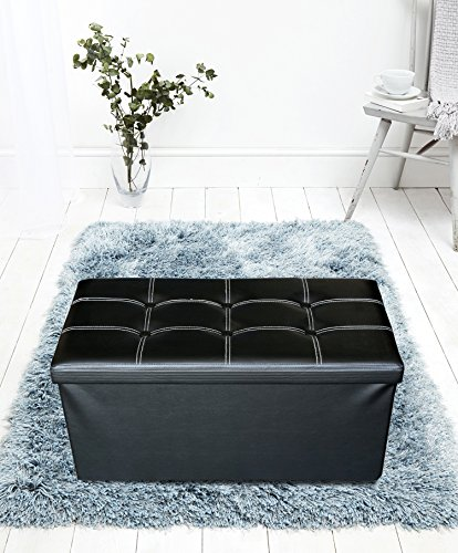 Rebecca Mobili Puff contenedor reposapiés Negro, Asiento Silla Blanca, Muebles Moderno, hogar salón Living- Medidas: 30 x 30 x 30 cm (AxANxF) - Art. RE4621