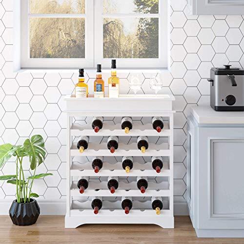 Homfa Botellero de Madera para 30 Botellas de Vino Apilable con Bandeja Botellero Estante de Vino con 5 Niveles MDF Color Blanco 70x23x83cm
