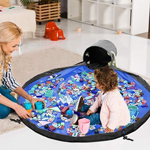 Bolsa de Almacenamiento de Juguetes, Cesta de Almacenamiento de Juguete de Limpieza Rápida con Cordón y Alfombra de Juego, Portátil Almacenaje Estera de Organizador Plegable de Juguete Lego para Niños