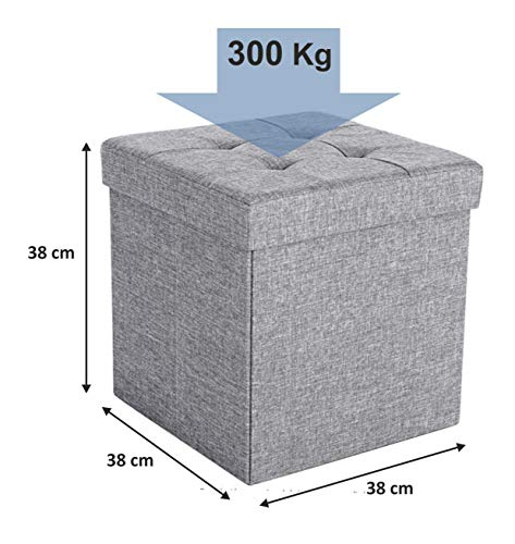 D&D Quality Puff Almacenaje Plegable, Asiento Acolchado, 38 x 38 x 38 cm - Exterior Tapizado Estilo Lino - Caja Almacenamiento Cuadrada (Gris Claro)