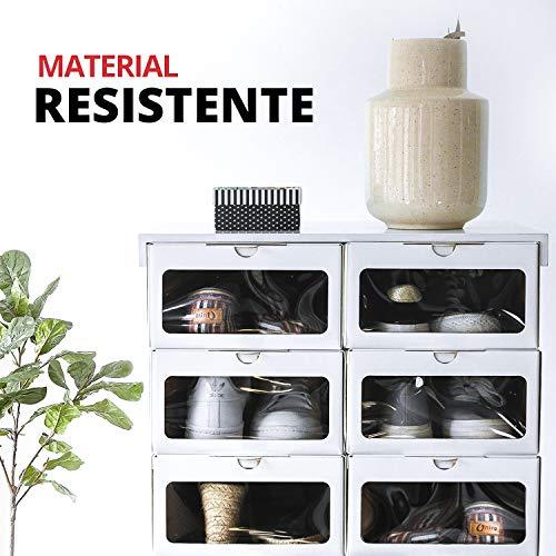 EnOrden 12 Cajas Zapatos Organizador Zapatero Transparente Apilable Blanca Ecológico,hasta talla 45 Cartón de fuentes renovables 24x13x33cm. Ahorra espacio en el guardado del calzado.
