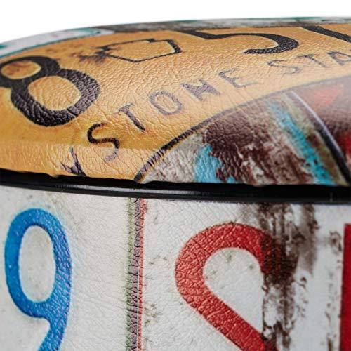 Relaxdays Puff Almacenaje Vintage con Tapa, PVC-Metal, Matrículas, 44 x 32 x 32 cm