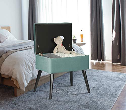 WOLTU Reposapiés Sofá Taburete Puff Caja de Almacenamiento(55L) Tapizado Asiento para Dormitorio con Cubierta de Terciopelo y Patas de Madera,Tapa Extraíble 50x35x45cm Turquesa SH52ts