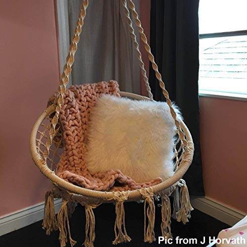 Ohuhu Hamaca Colgante Columpio con Silla Colgante Kit de Montaje para Colgar, Duradero, Fabricado con Cuerda de algodón 100% Sillacolumpio de Interior de macramé para dormitorios