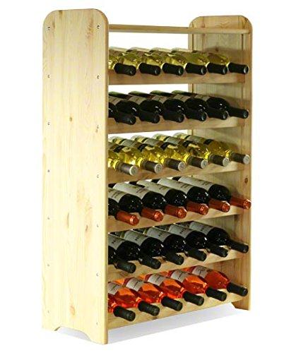 MODO24 Botellero con Soporte para 36 Botellas, Madera, Sin Tratar, 91,4x62,6x26,5 cm, 7