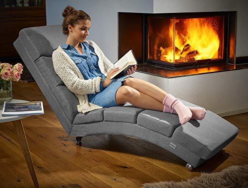 Casaria Diván Chaise Loungue 'London' Antracita sillón Interior Respaldo Alto para salón hogar 186x55cm Capacidad de 180Kg