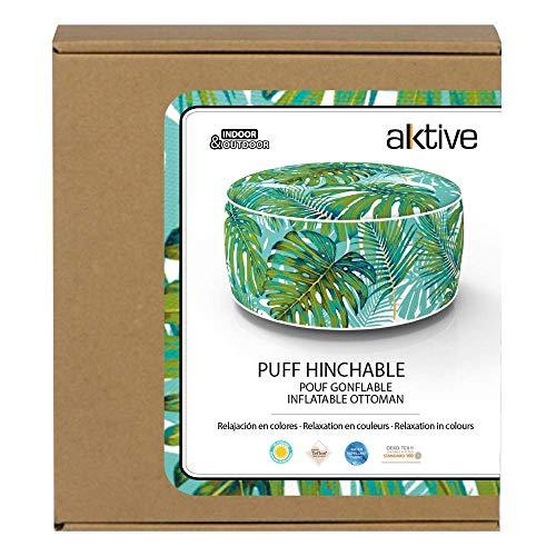 Aktive 79037 - Puff hinchable Ottoman, poliéster hilado, repele el agua, 53 x 23 cm, tropical verde turquesa