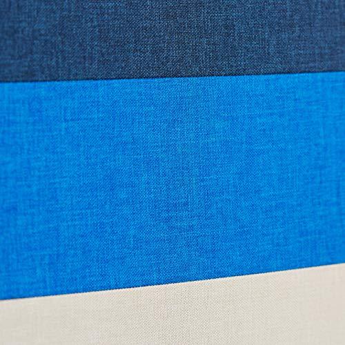 Relaxdays Baúl Almacenaje Pequeño y Plegable, Lino, Blanco-Azul, 38 x 38 x 38 cm