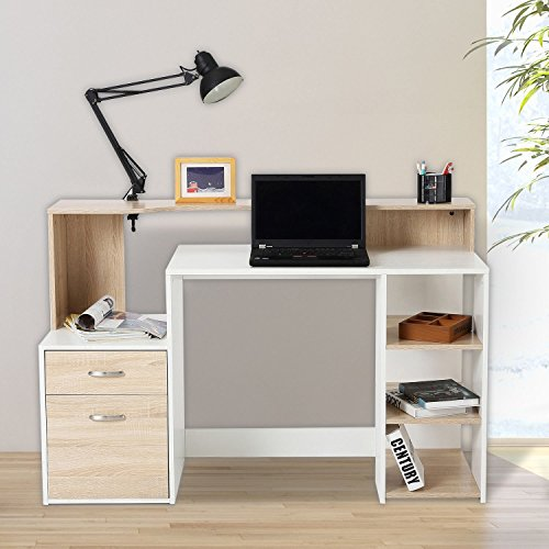 HOMCOM Mesa de Ordenador PC 140x55x92cm Despacho Escritorio Oficina Escuela Estanteria Madera 2 Colores (Marrón+Blanco)