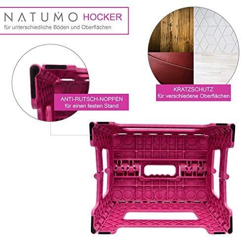 NATUMO Taburete Plegable Multiusos - taburete cocina, taburete niños, taburete plegable de viaje, Rosa