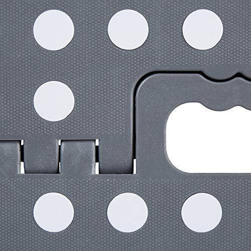 Relaxdays Taburete Plegable (tamaño XL, con asa, 120 kg, plástico, 39,5 x 38,5 x 32 cm), Color Gris y Blanco, 1 Unidad