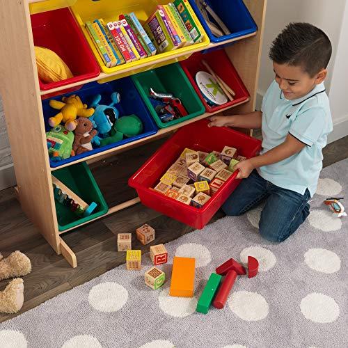KidKraft- Sort It & Store It Mueble clasificador y organizador de juguetes con 12 contenedores para cuarto infantil , Color Primario/Natural (16774) , color/modelo surtido