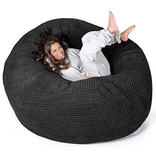 Lounge Pug®, Puff Gigante 'Mega-Mamut', Pana Clásica - Negro