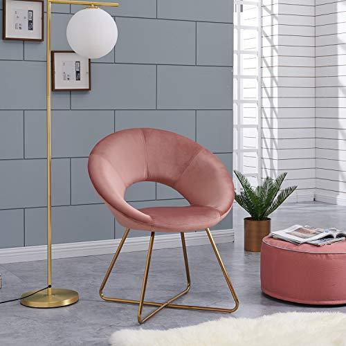 Duhome Silla de Comedor diseño Retro con Brazos Silla tapizada Vintage sillón con Patas de Metallo 439D, Color:Rosa, Material:Terciopelo