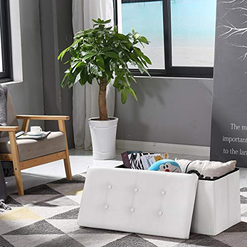 BRIAN & DANY Baúl Puff Taburete para almacenaje Plegable Ottoman, Blanco, 76 x 38 x 38 cm