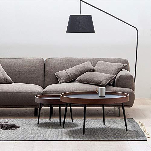 Mesa De Café La combinación creativa de hierro forjado Mesa moderna minimalista de la nuez Sofá Mesa lateral nórdica redondo del estilo de madera sólida mesa de té Adecuado Para HabitacióN U Oficina