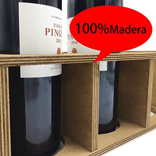 ALLPER Botellero de Vino, Soporte para Botellas, Madera Resistente. Estantería para Bebidas. Medidas: 55 x 13 x 11 cm. Marrón. Capacidad para 5 Botellas. 5 Agujeros.