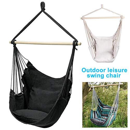 Hamaca colgante hamaca hamaca portátil de viaje con 2 almohadas – espesa perezosa silla columpio – cuerda de oscilación segura al aire libre interior Iqammocking
