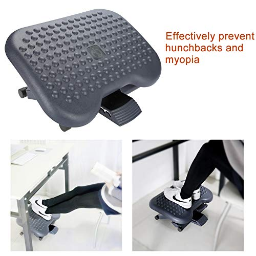 Reposapiés ajustable, taburete portátil para oficina, reposapiés ergonómico debajo del escritorio, altura ajustable con función de masaje, liberación de la suela para uso en la oficina en casa