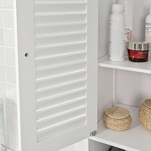 SoBuy Armario para baño Alto Mueble Columna de baño estanterías de baño-2 Puertas y 1 cajón FRG236-W,ES