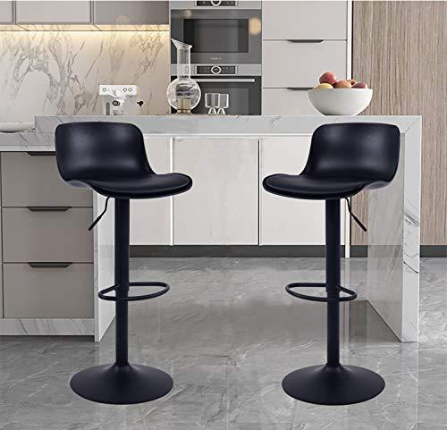 YOUNIKE 2X Taburetes de Bar Altura Ajustable y rotación de 360°, diseño Moderno y ergonómico para Bar, mostrador, Cocina y hogar Paquete de 2 Unidades Negro