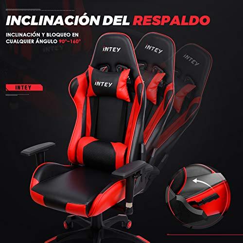INTEY Silla de Gaming, Silla de Oficina Ergonómica, PU y 3D Ajustables Apoyabrazos, Reposacabezas y Soporte Lumbar, Carga Máx.125kg - Rojo