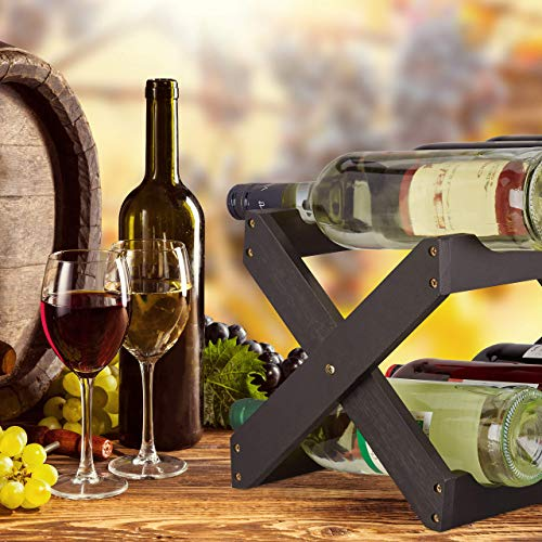Relaxdays, Negro, botellero Vino 6 Botellas Plegable en Forma de x, bambú, 22 x 36 x 20 cm, Bamboo