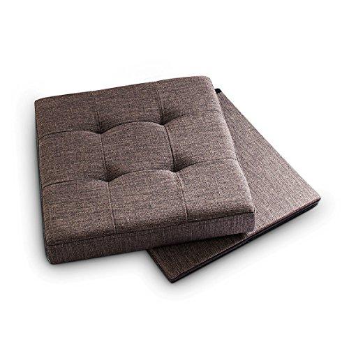 Relaxdays Taburete plegable, Reposapiés, Lino, 38x38x38 cm, Marrón