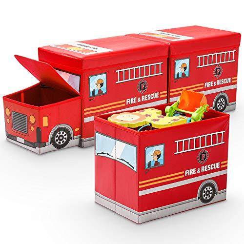 Yorbay 3X Caja de Almacenamiento para niños de Juguetes Plegable con Tapa, Taburete Infantil, Plegable, para niños y niñas (Rojo/Camión de Bomberos)