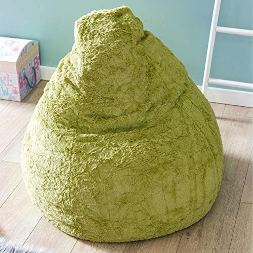 Lumaland Beanbag PUF otomano Niño Peluche XL Comfortline 120 lt Funda Peluche y Costuras reforzadas. Verde
