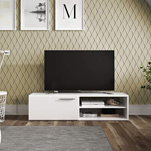 Habitdesign 006670BO - Modulo de Comedor, Mueble TV Kikua, modulo Acabado en Blanco Brillo, Medidas: 35 x 130 x 42 cm