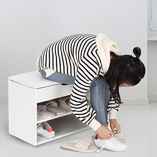 Armario Zapatero Taburete con Asientos Acolchado, Banco de Almacenamiento Zapatos con Almacén Plegable Puff Caja para Tocador Madera Estantería Estante para Entrada Pasillo Dormitorio, 60 x 30 x43cm