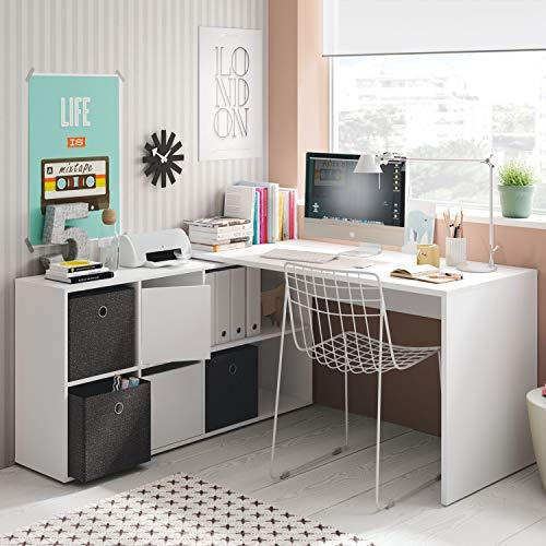 Habitdesign - Mesa Escritorio, Mesa despacho Reversible, Estudio Modelo Adapta XL, Medidas: