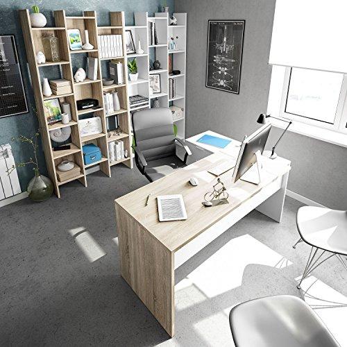 Habitdesign Mesa Office, Mesa Despacho, Ordenador, Modelo BUC 3 Cajones, Acabado en Blanco Artik y Roble Canadian, Medidas: 73 cm (Alto) x 145 cm (Ancho) x 108 cm (Fondo).