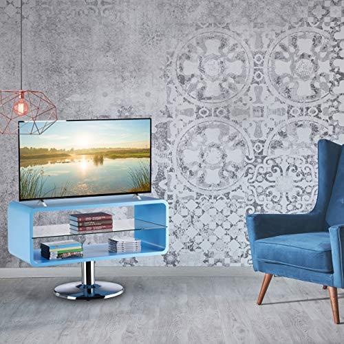 Relaxdays Mesa TV en Estilo Retro, Madera, Azul, 52 x 81 x 40 cm