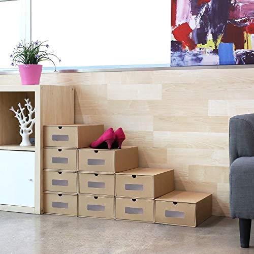 Femor 10 Cajas para Zapatos Apilable, Zapatero Cajón Plegable Caja, Caja de almacenamiento, Ahorro de Espacio