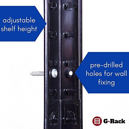 G-Rack 15 Estantería de Almacenamiento para Garaje, Acero Inoxidable con Recubrimiento de Polvo Negro, 180 x 120 x 45 cm