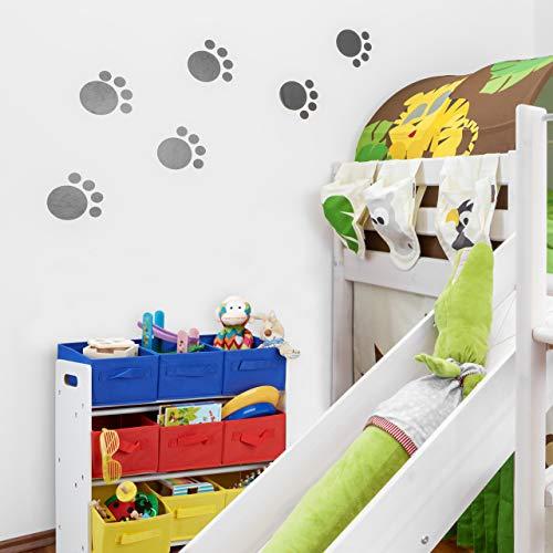 Relaxdays Estantería Infantil con Cajas, Cestas Plegables, Tubos de Metal, MDF, 62x63x28 cm, Blanco/Multi-Color