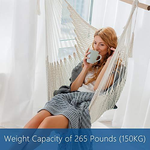 Anten Silla Hamaca Colgante Tejida en Macramé para Jardin/Interior/Exterior con Travesaño, 150x97 cm, Capacidad de Carga 150 Kg