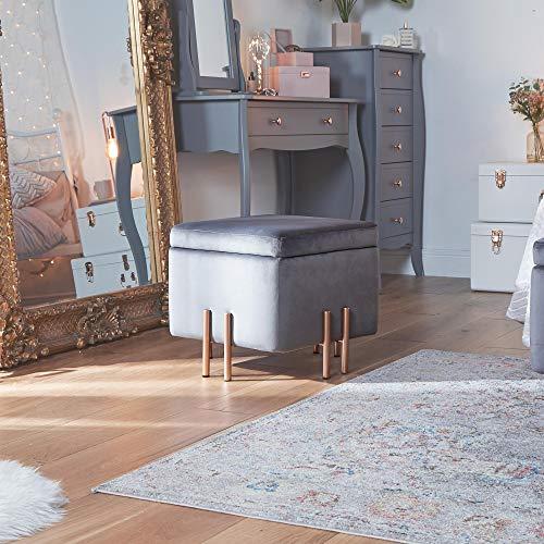 Beautify Taburete Cuadrado con Almacenamiento con Pies en color Oro Rosa - Gris Taburete Reposapiés - Otoman - Puf - Muebles de Dormitorio - Tocador