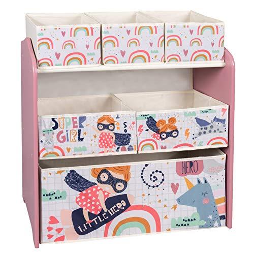 EUGAD Estante de Almacenamiento para Niños Estantería para Juguetes Libros Librería Infantil Organizador para Niños Muebles para Niña con 6 Cajas de MDF Rosa 0002ETSJ