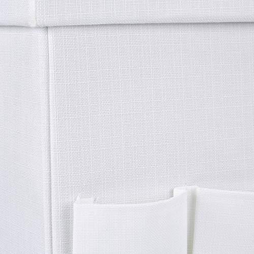Relaxdays Baúl Puff Taburete con Tapa, Lino, Blanco, 38 x 38 x 38 cm