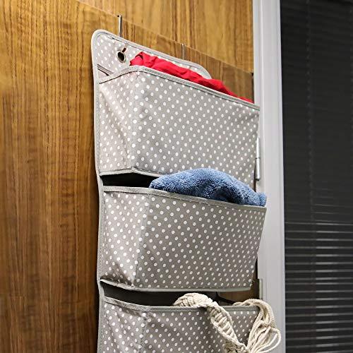 Almacenamiento sobre puerta   Organizador colgante de 4 bolsillos   Bolsillos de tela de almacenaje   Organizador de dormitorio y hogar   2 ganchos de metal incluidos   Pukkr