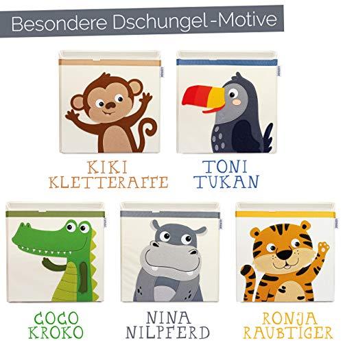 GLÜCKSWOLKE Cajas Almacenaje Infantil - Motivo Hippo I Baúl Juguetes I Cubo Organizador (33x33x33) Cuarto de Niños I Contenedor Habitacion Niñas I Cesto Dormitorio Bebe